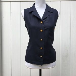 Vintage CHANEL Boutique sleeveless Navy Blue top